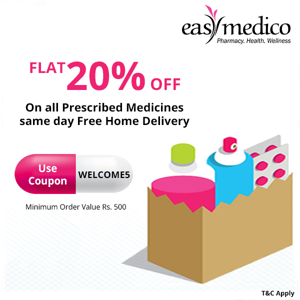 20% Flat discount Online orders on all Medicines !!